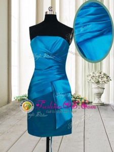 Cute Strapless Sleeveless Evening Dress Mini Length Ruching Teal Satin