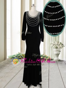 Custom Designed Scoop Black Long Sleeves Floor Length Beading Backless Mother Of The Bride Dress