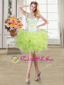 Vintage Yellow Green Straps Neckline Beading and Ruffles Prom Evening Gown Sleeveless Lace Up