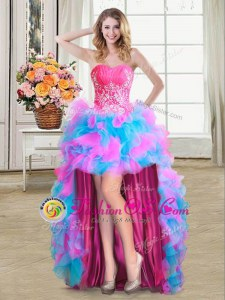 Fantastic High Low Multi-color Prom Dress Sweetheart Sleeveless Lace Up