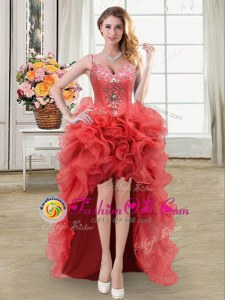 Flare Straps Sleeveless Organza High Low Lace Up Dress for Prom in Coral Red for with Beading and Ruffles