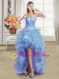 Sequins High Low Ball Gowns Sleeveless Blue Prom Evening Gown Lace Up