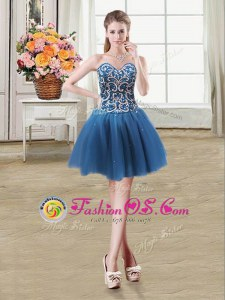 Best Selling Sleeveless Tulle Mini Length Lace Up Cocktail Dresses in Teal for with Beading and Sequins