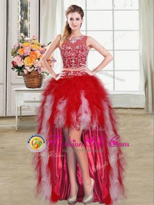 High Low Red Dress for Prom Scoop Sleeveless Zipper