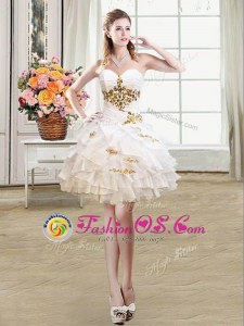 Custom Fit Mini Length Lace Up Evening Dress White and In for Prom and Party with Beading and Ruffles