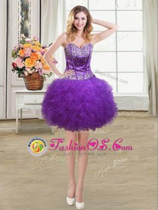 Eggplant Purple Ball Gowns Sweetheart Sleeveless Tulle Mini Length Lace Up Beading and Ruffles Prom Dresses