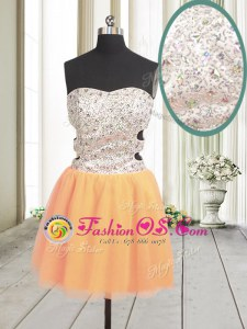 Trendy Orange Zipper Prom Gown Beading and Sequins Sleeveless Mini Length