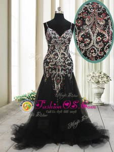 Mermaid Spaghetti Straps Sleeveless Prom Evening Gown With Brush Train Beading and Appliques Black Tulle