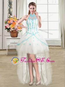Adorable Turquoise Sleeveless Beading and Ruffles and Sequins Mini Length Dress for Prom