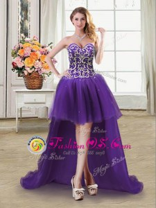 Fashion High Low Lace Up Dress for Prom Purple and In for Prom and Party with Beading and Sequins