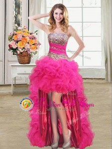 Hot Pink Lace Up Evening Dress Beading and Ruffles and Ruffled Layers and Sequins Sleeveless High Low