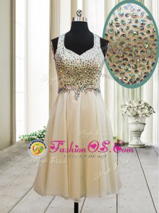 Fantastic Straps Champagne Chiffon Side Zipper Sleeveless Knee Length Beading