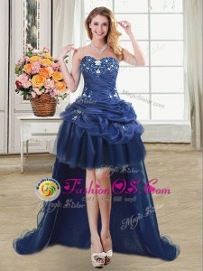 Beading and Appliques and Pick Ups Mother Of The Bride Dress Navy Blue Lace Up Sleeveless High Low