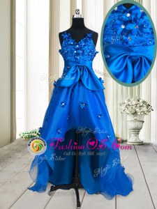 Hot Selling Beading and Appliques and Bowknot Prom Gown Royal Blue Zipper Sleeveless High Low
