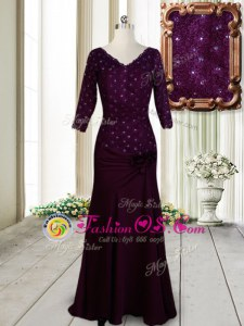 Dark Purple Mother Of The Bride Dress Prom and For with Beading and Lace and Hand Made Flower Half Sleeves Zipper