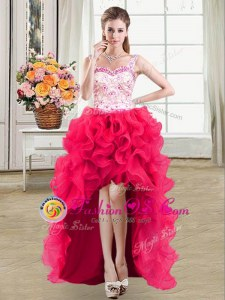 Straps Hot Pink Sleeveless High Low Beading and Lace and Ruffles Lace Up Mother Of The Bride Dress