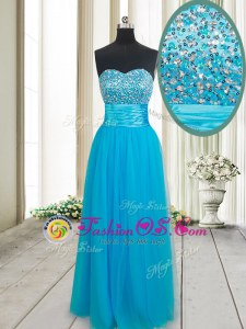 Trendy Empire Prom Dress Baby Blue Sweetheart Tulle Sleeveless Floor Length Lace Up