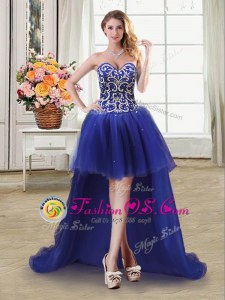 Fashionable Royal Blue Prom Party Dress Prom and Party and For with Beading and Sequins Sweetheart Sleeveless Lace Up