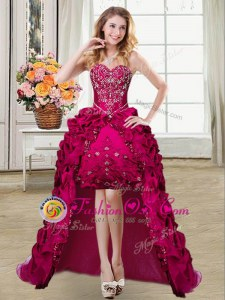 Fuchsia Ball Gowns Sweetheart Sleeveless Taffeta High Low Lace Up Beading and Embroidery and Pick Ups Homecoming Dress