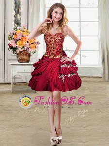 Mini Length Lace Up Homecoming Dress Wine Red and In for Prom and Party with Beading and Appliques and Pick Ups