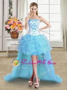 Cute Light Blue Ball Gowns Strapless Sleeveless Tulle High Low Lace Up Beading and Appliques and Ruffles Prom Dresses