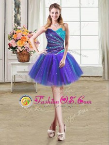 Multi-color Sweetheart Neckline Beading and Ruffles Sleeveless Lace Up
