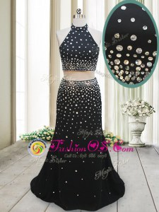 Attractive Black Two Pieces Halter Top Sleeveless Chiffon Floor Length Backless Beading Prom Dress
