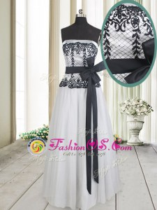 Lace and Bowknot Homecoming Party Dress White And Black Zipper Sleeveless Floor Length