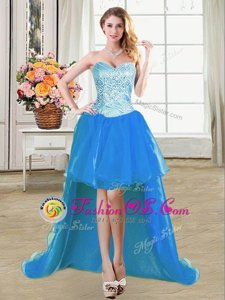 Charming Floor Length Blue Red Carpet Gowns Organza Sleeveless Beading