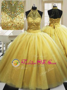 Noble Yellow Lace Up 15th Birthday Dress Beading Sleeveless With Train Sweep Train