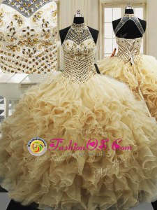 Champagne Ball Gowns Beading and Ruffles Sweet 16 Dress Lace Up Tulle Sleeveless With Train
