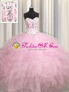 Most Popular Visible Boning Tulle Sweetheart Sleeveless Lace Up Beading and Appliques and Ruffles Vestidos de Quinceanera in Baby Pink