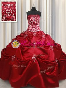 Super Floor Length Wine Red Quinceanera Gown Taffeta Sleeveless Beading and Appliques and Embroidery