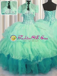 Visible Boning Bling-bling Multi-color Sleeveless Floor Length Beading and Ruffled Layers Lace Up Quince Ball Gowns