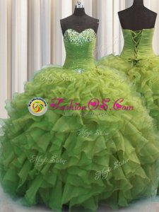 Decent Sweetheart Sleeveless Organza 15 Quinceanera Dress Beading and Ruffles Lace Up