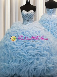 Dramatic Rolling Flowers Brush Train Baby Blue Sleeveless Beading and Pick Ups Lace Up Sweet 16 Dress