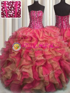 Amazing Visible Boning Beaded Bodice Strapless Sleeveless 15 Quinceanera Dress Floor Length Beading and Ruffles Multi-color Organza