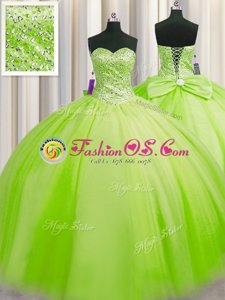 Trendy Big Puffy Tulle Lace Up Sweetheart Sleeveless Floor Length Quinceanera Gowns Beading