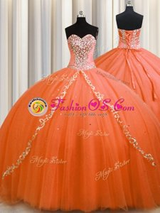 Orange Tulle Lace Up Quinceanera Gowns Sleeveless Brush Train Beading