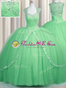 Amazing Cap Sleeves Brush Train Beading and Appliques Zipper Quince Ball Gowns