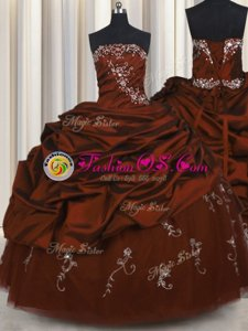 Embroidery Burgundy Ball Gowns Strapless Sleeveless Taffeta Floor Length Lace Up Beading and Appliques and Pick Ups Ball Gown Prom Dress