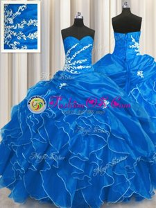 Sweetheart Sleeveless Lace Up Sweet 16 Dress Blue Organza