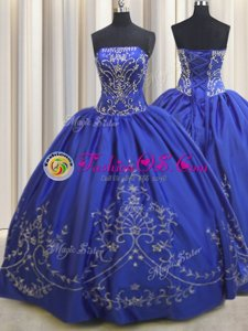 High Quality Embroidery Floor Length Ball Gowns Sleeveless Royal Blue Quince Ball Gowns Lace Up