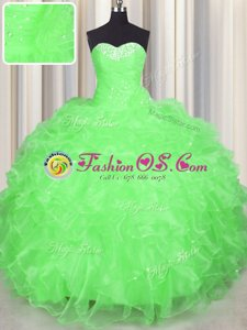 Super Sweetheart Neckline Beading and Ruffles Quince Ball Gowns Sleeveless Lace Up