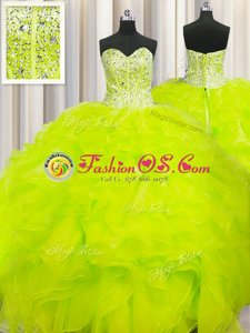 Affordable Visible Boning Beaded Bodice Yellow Quinceanera Dresses Military Ball and Sweet 16 and Quinceanera and For with Beading and Ruffles Sweetheart Sleeveless Lace Up