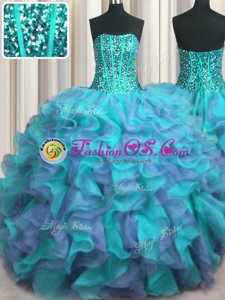 Elegant Visible Boning Beaded Bodice Sleeveless Floor Length Beading and Ruffles Lace Up Sweet 16 Quinceanera Dress with Multi-color