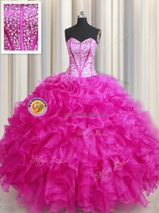 Visible Boning Bling-bling Sweetheart Sleeveless Lace Up Sweet 16 Dresses Hot Pink Organza
