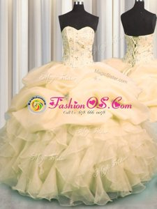 Pick Ups Visible Boning Sweetheart Sleeveless Lace Up Quinceanera Gowns Peach Organza
