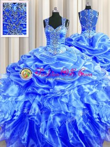 Zipper Up See Through Back Straps Sleeveless Quinceanera Dress Floor Length Beading and Ruffles and Pick Ups Blue Organza