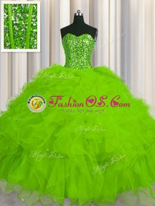Romantic Visible Boning Quinceanera Gowns Military Ball and Sweet 16 and Quinceanera and For with Beading and Ruffles and Sequins Sweetheart Sleeveless Lace Up